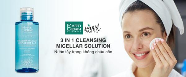 Nước tẩy trang không chứa cồn MartiDerm 3 in 1 Cleansing Micellar Solution