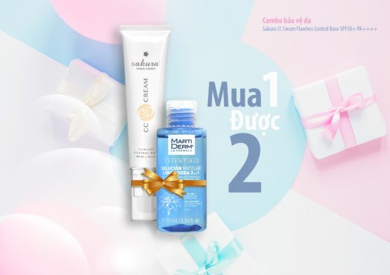Combo bảo vệ da Sakura CC Cream Flawless Control Base SPF50+ PA++++